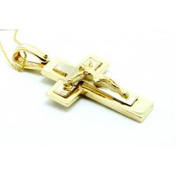 Krzyżyk męski z żółtego i białego złota