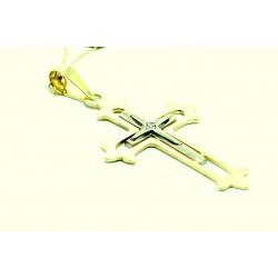Krzyżyk z żółtego i białego złota z brylantem