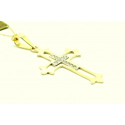 Krzyżyk z żółtego i białego złota z brylantami