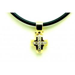 Krzyżyk z żółtego złota z brylantami