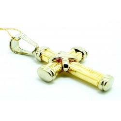 Krzyżyk z żółtego i białego złota