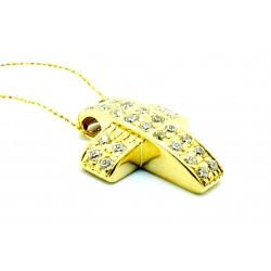 Krzyżyk z żółtego  złota z cyrkoniami