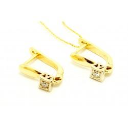 Kolczyki z żółtego  złota z brylantami 0,06ct