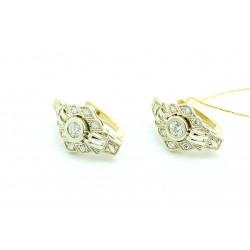 Kolczyki z białego i żółtego złota z brylantami
