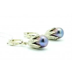 Kolczyki z białego złota z brylantami i perłą