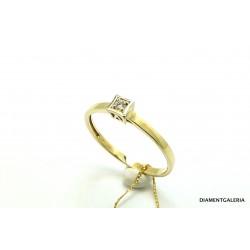 Pierścionek z żółtego złota z brylantami 0,03ct.H/VS