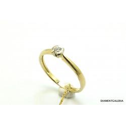 Pierścionek z żółtego złota z brylantami 0,046ct.H/VS