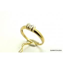 Pierścionek z żółtego złota z brylantem 0,16 ct.H/VS