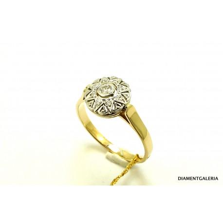 Pierścionek z żółtego złota z brylantami 0,31ct.H/VS