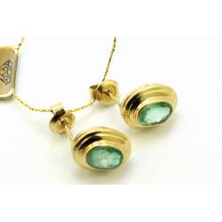 Kolczyki z żółtego złota ze szmaragdami